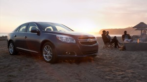 2013 Chevy Malibu at the Beach
