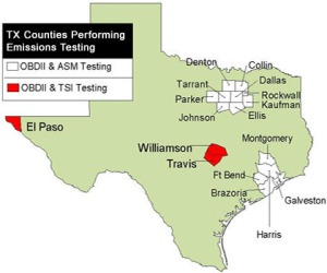 Counties that require Emissions Testing- per TX Dept. of Public Safety